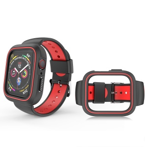 Two-tone Silicone Watch Band Strap with Frame for Apple Watch Series 3 / 2 / 1 42mm - Black / Red