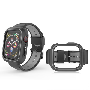 Bi-color Silicone Watch Wrist Band + Frame for Apple Watch Series 3 / 2 / 1 38mm - Black / Grey
