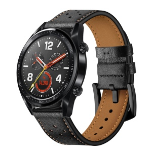For Huawei Watch GT Genuine Leather Watchband Replacement - Black