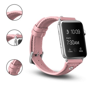 Rhinestone Genuine Leather Watch Band for Apple Watch Series 4 40mm, Series 3 / 2 / 1 38mm - Pink