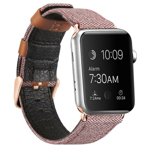 Genuine Leather + Canvas Contrast Color Wristwatch Band for Apple Watch Series 4 40mm, Series 3 / 2 / 1 38mm - Pink
