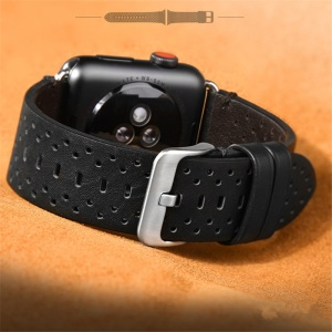PU Leather Multi Holes Watch Band for Apple Watch Series 4 44mm, Series 3 / 2 / 1 42mm - Black