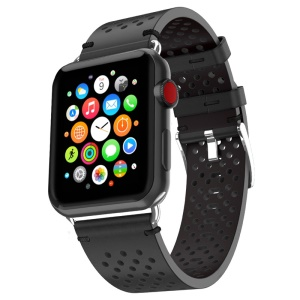 PU Leather Multi Holes Watch Strap for Apple Watch Series 4 40mm, Series 3 / 2 / 1 38mm - Black