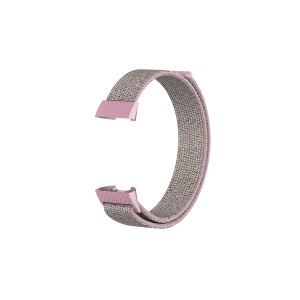 Velcro Closure Nylon Watch Band Strap for Fitbit Charge 3 - Pink