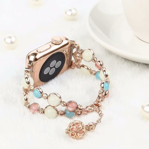 Unique Handmade Luminous Night Pearl Wrist Band Strap for Apple Watch Series 6 SE 5 4 40mm / Series 3 2 1 38mm - Rose Gold