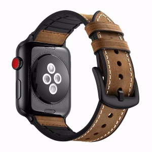 Cowhide Leather + Soft Silicone Watch Strap for Apple Watch Series 4 40mm, Series 3 / 2 / 1 38mm - Brown