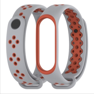 MIJOBS Bi-color Silicone Watch Band with Pin Buckle for Xiaomi Mi Band 3 - Grey / Orange