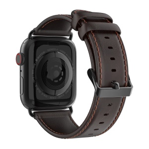 DUX DUCIS Business Genuine Leather Watch Strap for Apple Watch Series 5 4 44mm / Series 3 2 1 42mm - Coffee
