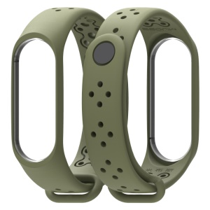 MIJOBS Single Color Sport Strap Breathable TPU Wristband Strap for Xiaomi Mi Band 4 / Mi Band 3 - Army Green