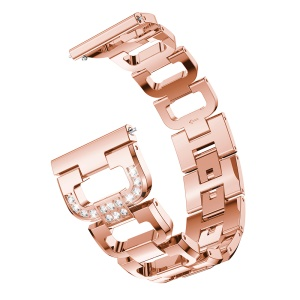 D-shape Rhinestone Decor Alloy Watch Bracelet for Samsung Galaxy Watch Active SM-R500 - Rose Gold