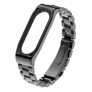 MIJOBS Solid Stainless Steel Wrist Band Strap with Zinc Alloy Case for Xiaomi Mi Band 3 - Black