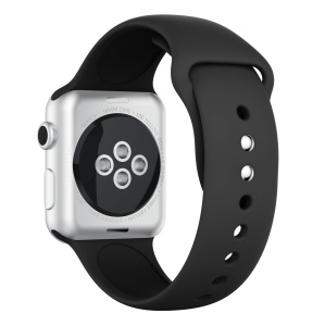 Double Buckle Soft Silicone Sport Watch Bracelet for Apple Watch Series 4 40mm / Series 3 2 1 38mm - Black
