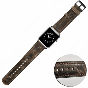 Correa Fina De Reloj De Pulsera De Cuero Genuino Para Apple Watch Series 4 40mm / Serie 3 / 2 / 1 38mm - Café