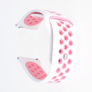 20mm Two-tone Hollow Silicone Watch Strap for Samsung Galaxy Watch 42mm / Gear Sport S2 - White / Pink