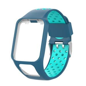 Dual Color Silicone Smart Watch Strap for TomTom Multi-sport Runner 2/3 - Light Blue / Cyan