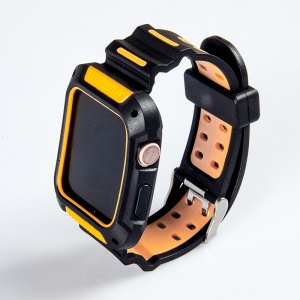 Two -color Soft Silicone Smart Watch Band for Apple Watch Series 4 40mm - Black/Orange