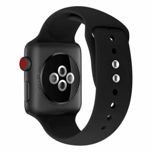 Dual Pin Buckle Silicone Watch Strap for Apple Watch Series 4 40mm, Series 3/2/1 38mm - Black