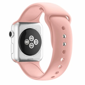 Dual Pin Buckle Silicone Watch Strap for Apple Watch Series 5 4 40mm, Series 3/2/1 38mm - Pink