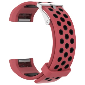 Two-color Silicone Wrist Strap for Fitbit Charge 2 - Black / Red