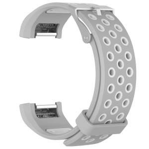 Two-color Silicone Wrist Strap for Fitbit Charge 2 - White / Grey