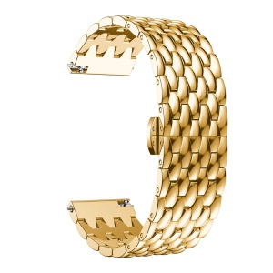 For Huawei Watch GT / Samsung Galaxy Watch 46mm / Samsung Gear S3 Frontier / Gear S3 Frontier 22mm S3 Alloy Butterfly Clasp Watch Strap Link Bracelet - Gold