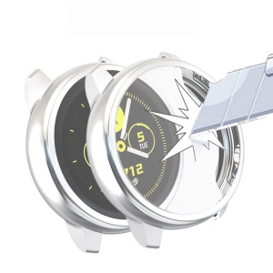 Electroplating Soft TPU Protection Case Cover for Samsung Galaxy Watch Active - Silver