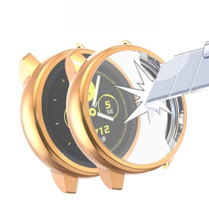 Electroplating Soft TPU Protection Case Cover for Samsung Galaxy Watch Active - Champagne Gold