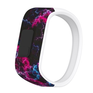 Printing Pattern Flexible Adjustable Soft Silicone Replacement Watch Band for Garmin Vivofit JR- Size: S / Rose Thunder Storm