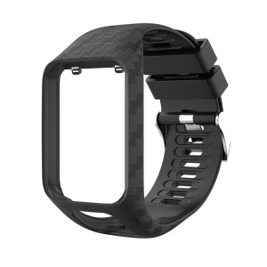 Radium Carving Silicone Watch Bracelet Replacement for TomTom Runner 3 / Golfer 2 GPS Watch - Black