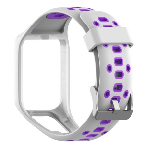Dual Color Silicone Smart Watch Wrist Band Strap for TomTom Sport Runner 2 3 - White/Purple