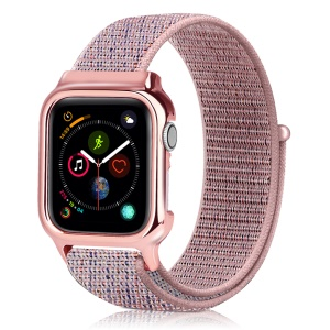 Soft Breathable Nylon Sport Loop Wrist Band Strap for Apple Watch Series 4 40mm - Pink