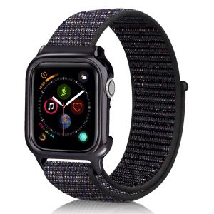 Soft Breathable Nylon Sport Loop Wrist Band Strap for Apple Watch Series 4 44mm - Dark Multi-color