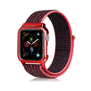 Soft Breathable Nylon Sport Loop Wrist Band Strap for Apple Watch Series 4 44mm - Red / Black