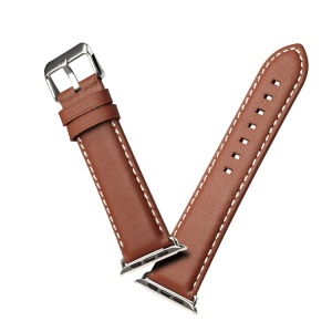 Bracelet De Montre En Cuir Véritable Pour Apple Watch Series 4 44mm / Série 3 / 2 / 1 42mm - Marron Clair