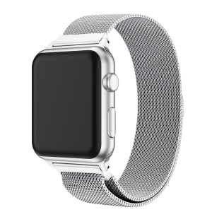 Milanese Halbrunden Schwanz Edelstahl Magnetische Einzigartiges Uhrenarmband Für Apple Watch Apple Watch Serie 3/2/1 38mm - Silber-