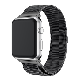 Milanese Semi-circular Tail Stainless Steel Magnetic Stylish Watch Band for Apple Watch Apple Watch Series 3/2/1 38mm - Black