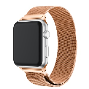 Milanese Semi-circular Tail Stainless Steel Magnetic Stylish Watch Band for Apple Watch Apple Watch Series 3/2/1 38mm - Champagne Gold