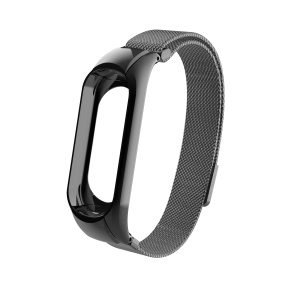 Milanese Fine Mesh Stainless Steel Magnetic Watch Wrist Strap for Xiaomi Mi Band 4 - Black