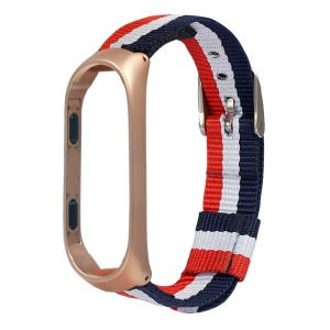 Classic Buckle Nylon Watch Strap for Xiaomi Mi Smart Band 4 - Gold Frame
