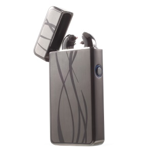 Streamline Pattern USB Rechargeable Windproof Electronic Arc Flameless Lighter - Grey