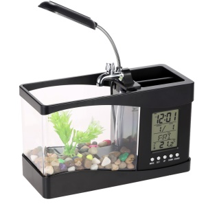 Mini USB Desktop Aquarium Fish Tank with Clock LCD Display and LED Table Lamp - Black