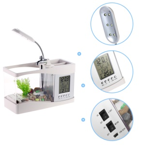Mini Desktop Fish Tank USB USB Color Changing 6 LEDs Electronic Aquarium Water Running 1.5L - White