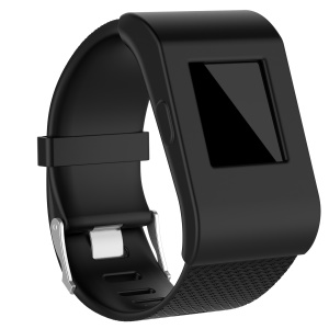 Anti-aging Flexible Protective Silicone Case Cover for Fitbit Surge - Black