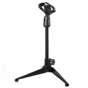 BC-02 Mini Foldable Adjustable Desktop Microphone Tripod Stand - Black