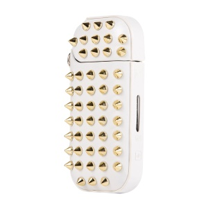 Portable Stylish Rivets Decor Leather Protective Cover Case for IQOS 2.0/2.4 Plus Electronic Cigarette - White / Gold