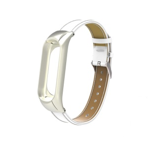 Classic PU Leather Bracelet Wrist Strap with Protective Frame for Xiaomi Mi Band 3 - White