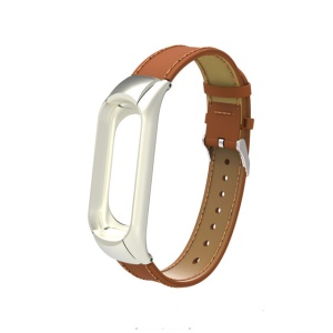 Classic PU Leather Bracelet Wrist Strap Replacement with Protective Frame for Xiaomi Mi Band 3 - Brown