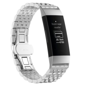 Stylish Stainless Steel Watch Band for Fitbit Charge 3 - Silver
