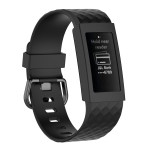 Flexible Soft Silicone Anti-aging Watch Case for Fitbit Charge 3 - Black