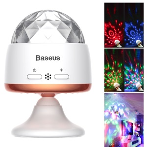 BASEUS Rotary Voice Control Car Crystal Magic Ball Light - White